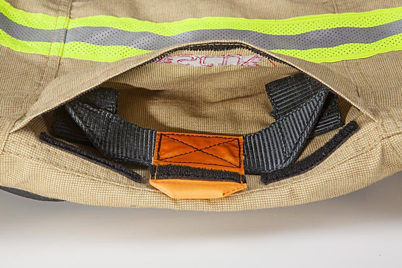 Sioen - A detail of a Sioen Fire suit is shown